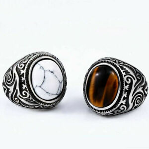 Vintage Stainless Steel Tiger Eye Stone Motorcyclist Men's Silver Ring Jewelry