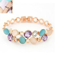 18K GP Austrian Rhinestone Crystal Bracelet Women Attractive Flower Bangle