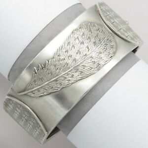 Antique Victorian Sterling Silver Aesthetic Period FEATHER Wide Cuff Bracelet