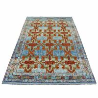 "5'8""x7'9"" Hand Made Tribal Design Pure Wool Colorful Afghan Village Rug G53340"