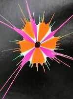 """Spin Art Painting 5"""" x 7"""" Pop Art Psychedelic Acid Art Abstract Handmade"""