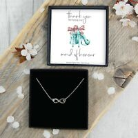 REAL Silver Thank You Maid Of Honour Infinity Necklace Gift Jewellery FREE Post