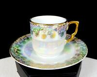 "PM GERMANY MARTINRODA FLORAL GILT LUSTERWARE 1 3/4"" DEMITASSE CUP & SAUCER 1914-"