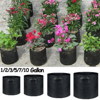 Round With Handles Flowerpot Planter Black Planting Pouch Fabric  Grow Bag