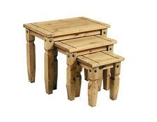 Corona Solid Pine 3 Piece Nest of Tables Delivery