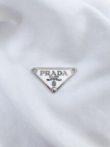 Prada Classic Triangle Logo Silver Plate in White
