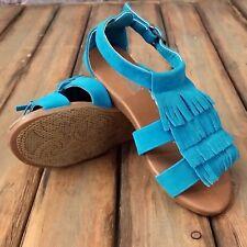 NEW GIRLS Teal Fringe SANDALS size 1 Shoes of Soul