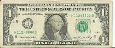 2006 $1 One Dollar Bill Fancy Serial Number Birthday Note 11/24/88  H 11248800 D
