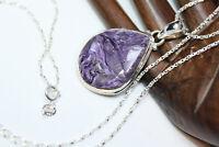 "New Sterling Silver Pear Purple 14 ct Jasper Pendant Women's Necklace 24"" Chain"