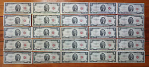 Lot 25 VF-XF RED SEAL $2 Two Dollar Bill 1953-1963 A B US Note=$50 Face NOT JUNK