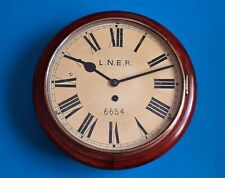 More details for #024 antique lner 6654 mahogany cased 8 day spring wound station wall clock
