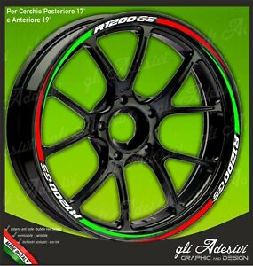 Adhesive Strips Wheel Rim Motorcycle BMW Tricolour Green White And Red Mod