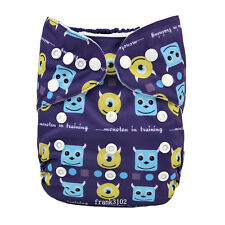 1 New MONSTER Baby Cloth Diaper Reusable Washable Adjustable Pocket Nappy Cover