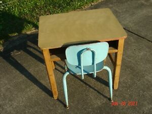 Vintage 1960's Elementary School Maple Desk With a Formica Top & Bentwood Chair