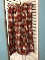 Vintage Dirndl Skirt Handmade Size M-L Red Plaid Wool 80s