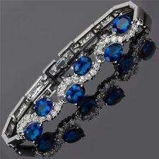 Sarotta Jewelry Rhinestone Oval Cut Blue Sapphire Tennis Statement Bracelet