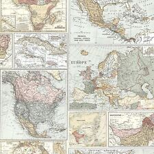 GLOBETROTTER WORLD MAP WALLPAPER - HOLDEN 98271 VINTAGE