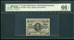 FR. 1238 5 CENT THIRD ISSUE FRACTIONAL CURRENCY NOTE PMG GEM UNC-66EPQ