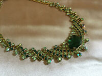 VINTAGE Sparkly Emerald Peridot Green Rhinestone Diamante Necklace Choker #2