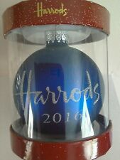 HARRODS 2016 Christmas Hand Decorated Souvenir Baubles - BLUE
