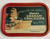 "Uneeda Graham Crackers Tin Platter Tray 16"" Rare Vintage Original"