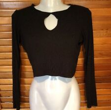 Funky Any Occasion Black Crop Long Sleeve high Neck Top Supre M