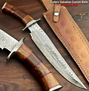 Cutlery Salvation Hand Made Damascus Steel Blade Bowie Hunting Knife|Walnut Wood