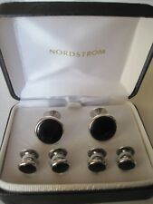 Nordstrom Silver-Tone Onyx Cufflinks & Studs ,New Old Stock