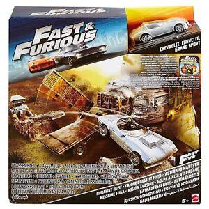 Mattel Fast & Furious Playset Street Scene Runaway Heist W/ 1 Vehicle Corvette