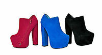 NEW LADIES WOMENS BLOCK STACK HEEL ANKLE SHOE BOOTS SHOES FAUX SUEDE UK SIZE 3-8