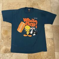 Vintage Looney Tunes Sylvester Tweety Bird Who's Next T-Shirt 90s Size Large