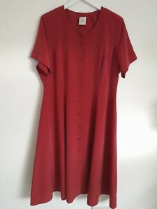 90s Vintage Shirt Dress 22 22-24 red button up tea midi silky Grunge
