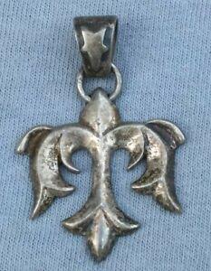 Navajo Fleur De Lis Pendant Handmade Sandcast Sterling Silver Vintage Jewelry