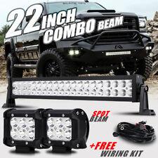 "22"" 280W 2X4"" Pods SPOT CREE LED Work Light Bar Fog Offroad Truck For GMC Sierra"