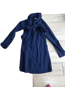 Moi Navy Blue Steampunk Style Structured Blouse Label M (6-8)