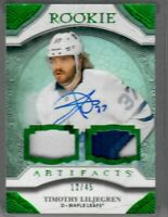 20/21 Upper Deck Artifacts Rookie TIMOTHY LILJEGREN PATCH AUTO 12 OF 45  LEAFS