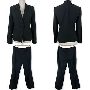 Ann Taylor 6P Pant Suit Wool Blend Black Blazer Slacks Womens Workwear