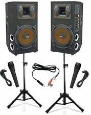 IMPIANTO AUDIO KARAOKE DJ 2 casse amplificate 800w + 2 microfoni + stativi cavi