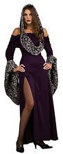 Skull Women's Adult Sexy Witch Long Purple Glitter Dress Halloween Costume, 6-12