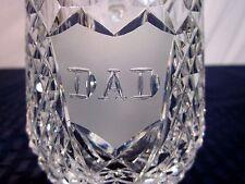 "Waterford Crystal 14oz. Beer Tankard Giftware Engraved ""DAD"" MINT"