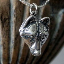 Little Wolf Face Pendant Necklace in Solid Sterling Silver  017