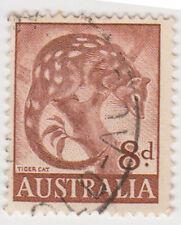 (W1389) 1959 AU 8d brown tiger cat (R)