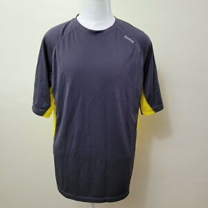 REEBOK MEN'S YELLOW/CHARCOAL STRETCH ATHLETIC RUNNING T-SHIRT SIZE L