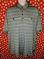 Adidas Men's Clima Cool Striped Golf Polo Shirt With Pockets Gray Blue 2XL A195