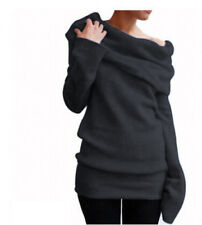 Women's Off Shoulder Cowl Neck Sweater Jumper Long Sleeve Casual Pullover Tops