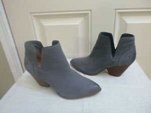FRYE 9 M Gray Leather Woven Ankle Booties Stacked Heels Western Pumps Shoes Mint