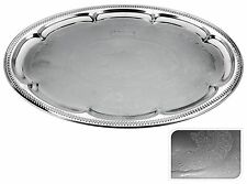 Engraved Silver Coloured Metal Tray Silver Serving Tray Tea Tray Oval Tea Tray