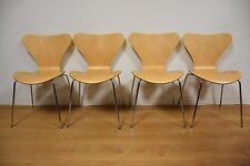 Arne Jacobsen Style Birch Dining Chairs- Set Of 4