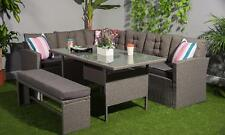 Outdoors Rattan Corner Garden furniture Sofa 8 Seater with Bench Dining Set Grey