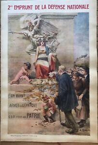 Grande Affiche Ancienne Guerre 14-18   2 ème emprunt Robaudy 1916